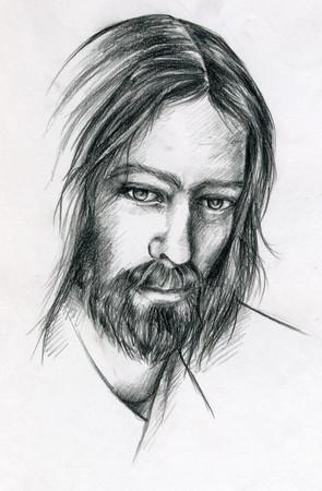 Pencil portrait of Jesus Christ photo