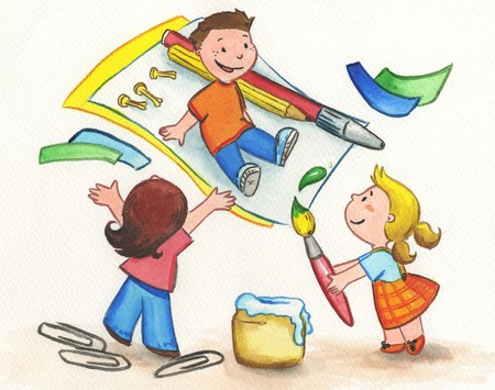 school play: Three children playing with paper, brushes and glue. Stock Photo