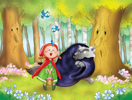 cartoon little red riding hood: Red riding hood and bad wolf Stock Photo