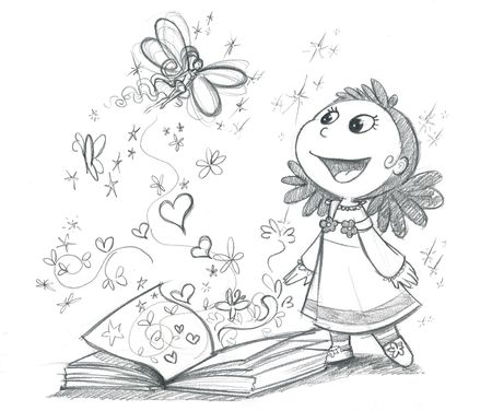 girl with magic open book