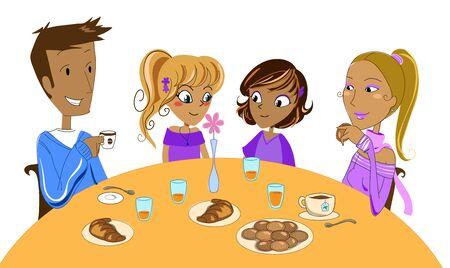Multi-racial family at breakfast photo