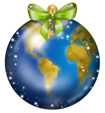 planisphere: Christmas ball decorated with america and africa map like a planishere Stock Photo