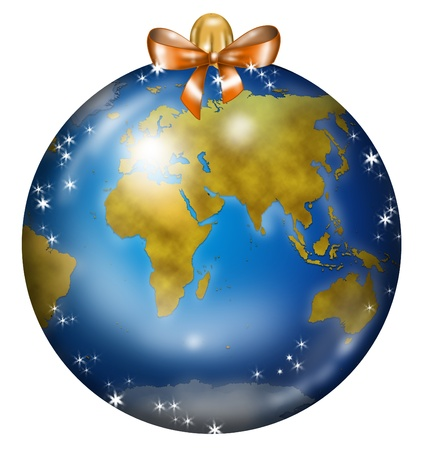 Christmas ball decorated with europe, africa and asia map like a planishere photo