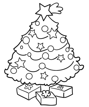 Coloring Christmas tree with gifts photo