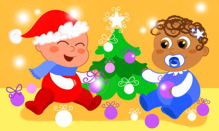 Two cute babies from different races are decorating a Christmas tree photo