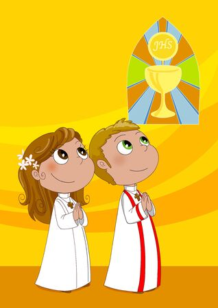 Two children during first communion in a catholic church 스톡 콘텐츠