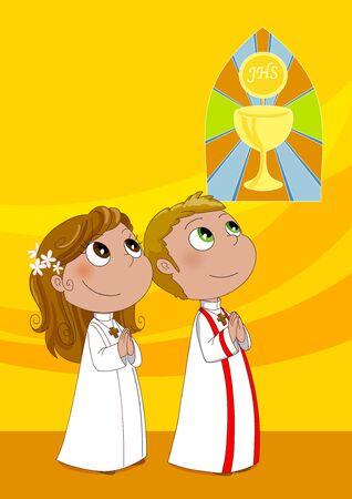prima comunione: Due bambini durante la prima comunione in una Chiesa Cattolica