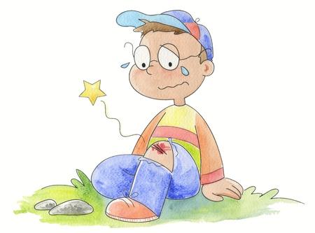crying boy: Un ni�o llorando con un cero en su rodilla.