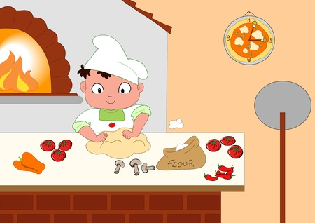 kneading: A cute young pizza maker in his kitchen. Stock Photo