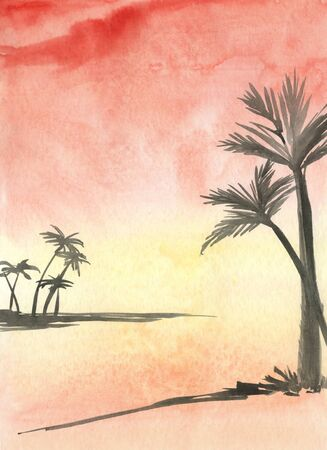 Watercolor of Palm landscape at sunset photo