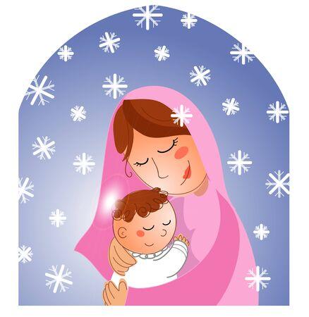 Nativity: Mary with newborn jesus Stock Photo - 8357625