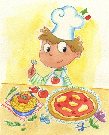 Italian chef with pizza and pasta
