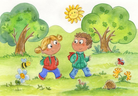 insects: Kids walking in a funny wood with cute animals Stock Photo