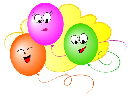 funy: Three colored balloons with happy smiling faces Stock Photo