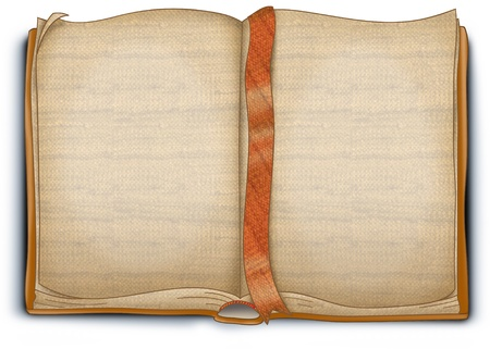 An empty old woven book. On the blanc pages there are rough texture.