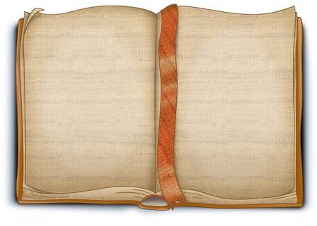 Un vecchio libro tessuto vuoto. Le blanc pagine ci sono grezzo di trama.
