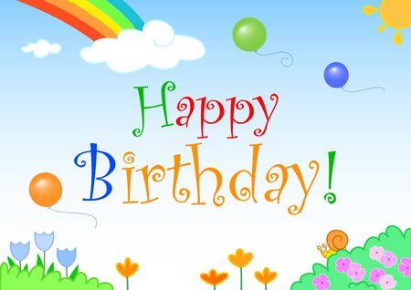 Happy birthday! Balloons, rainbow and flowers Stock Photo - 8396225