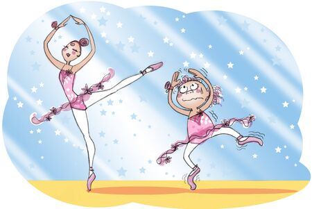 Ballerina teaching ballet moves to a young girl. Humorous illustration. illustration