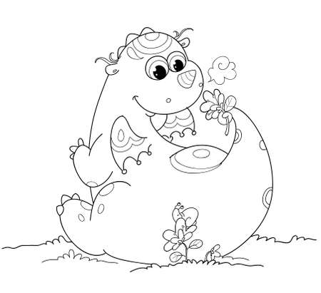 Black and white illustration of a fantasy cute dragon Stock Illustration - 8477796