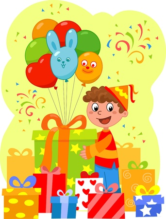 lot: Birthday party: happy boy with a lot of gifts and balloons. Illustration