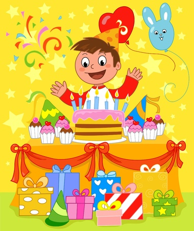 Happy boy at birthday party: birthday cake with seven candles. Vector