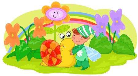 Elf with cute snail among violets and grass. Illustration for children. Ilustração