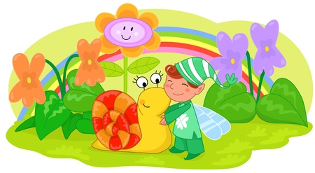 Elf with cute snail among violets and grass. Illustration for children. Vector
