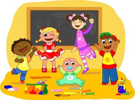 Cinco niños exulting felices juntos en una clase de la escuela. Ilustración de vector