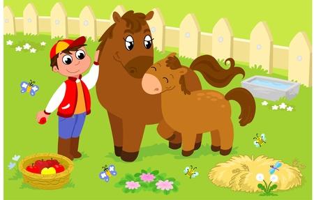 Niño con caballo y potro lindo. Ilustración de dibujos animados para niños.