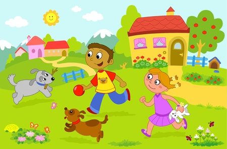 Smiling boy and girl running with two dogs and other animals. Illustration