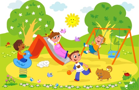 Playground: cartoon illustration of kids playing together at the park.
