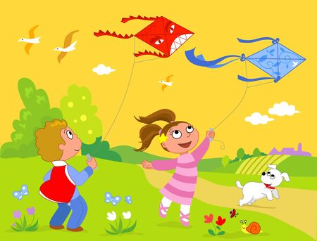 Children playing with colored funny kites. Vector