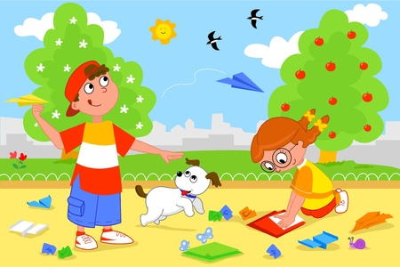 children at play: Boy and girl playing with paper airplanes.