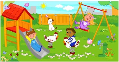Three happy children at the playground.