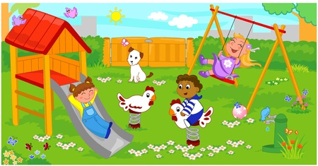 Three happy children at the playground. Stock Vector - 9707985