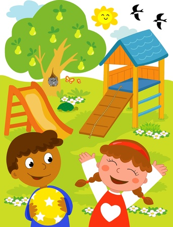 Playground: cartoon illustration of a black boy and a caucasian girl playing together at the park. Vector