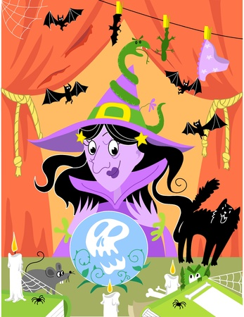 enchantment: Witchs table full of spooky objects. Halloween illustration. Illustration