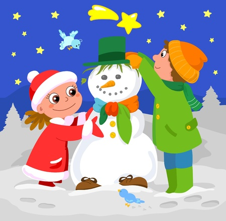 Christmas scene: young boy and girl decorating a snowman. Vector