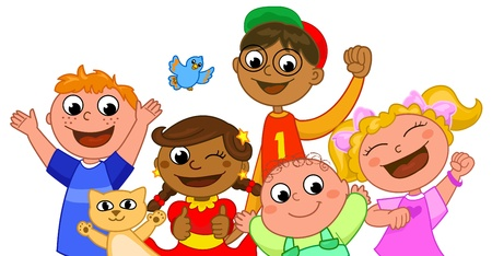 age 5: Group of children of different ages and races. Illustration