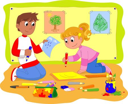 crayon drawing: Teenagers at school drawing together Illustration