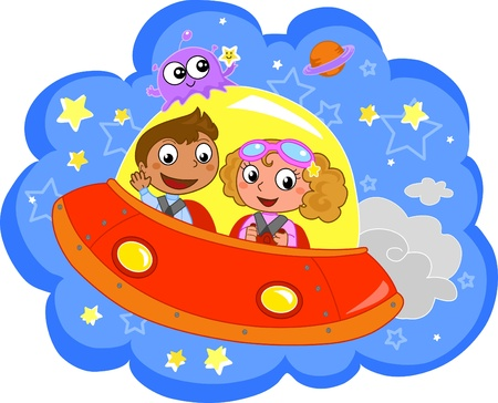 universo: Cartoon children traveling on a space rocket.