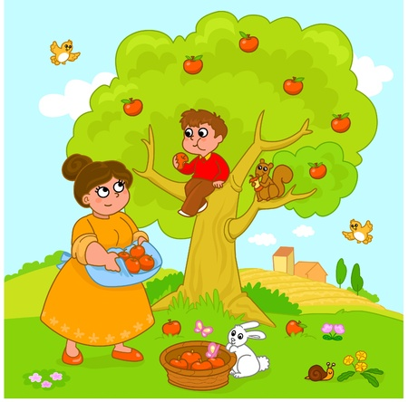 Mother and child picking apples. Funny cartoon illustration. Vector