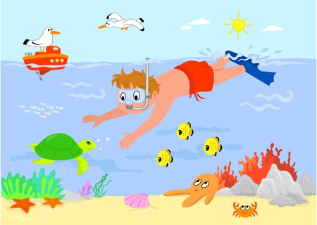 Kid swimming underwater with sea creatures. Cartoon illustration. Vector