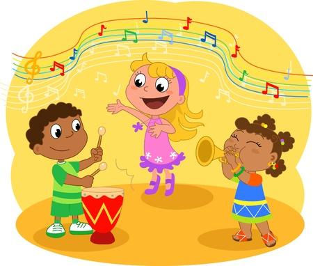 canta: Gruppo di musica giovane: bambini che giocano e cantando Vettoriali