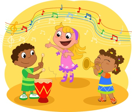 Young Music band: Children playing and singing Vector