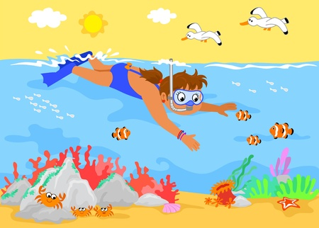 Girl swimming underwater with sea creatures. Cartoon illustration. Vector