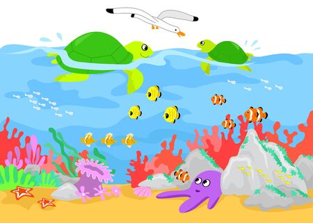 Coral reef: two turtles, fishes and marine creature underwater. Cartoon illustration. Vector