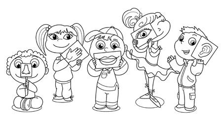 Cartoon kids illustrating the five senses.