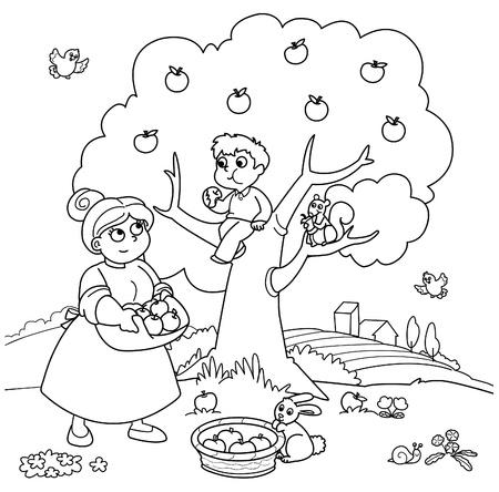 manzana caricatura: La madre y el ni�o recogiendo manzanas. Ilustraci�n para colorear divertido.