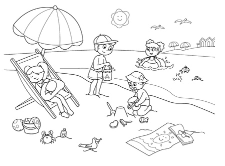 Children playing with the sand at the beach. Cartoon illustration in black and white. Illustration